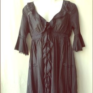 Free People Vintage Black Button Up Tunic Dress, 2